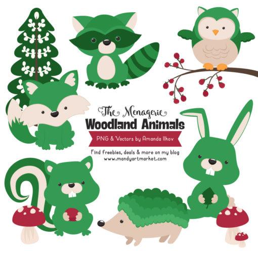Green Woodland Animals Clipart