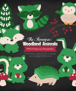 Green Woodland Animals Clipart
