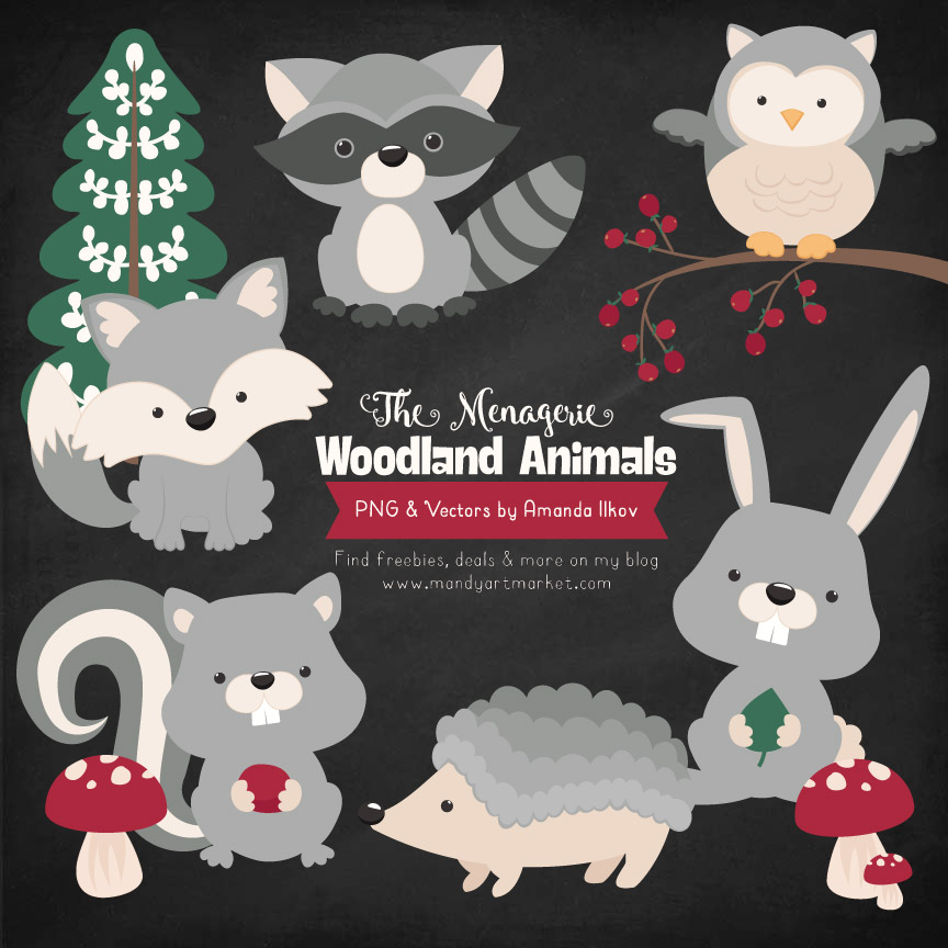 Grey Woodland Animals Clipart