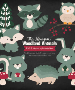 Hemlock Woodland Animals Clipart