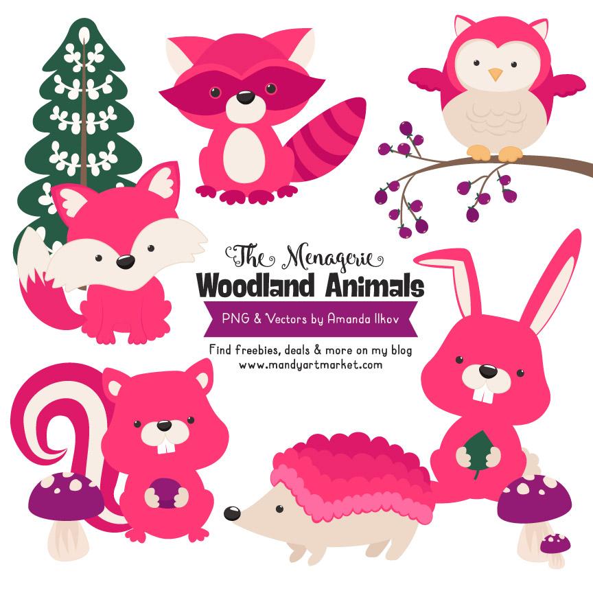 Hot Pink Woodland Animals Clipart