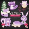 Lavender Woodland Animals Clipart