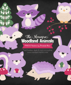 Lavender Woodland Animals Clipart
