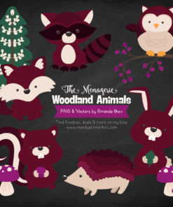 Merlot Woodland Animals Clipart