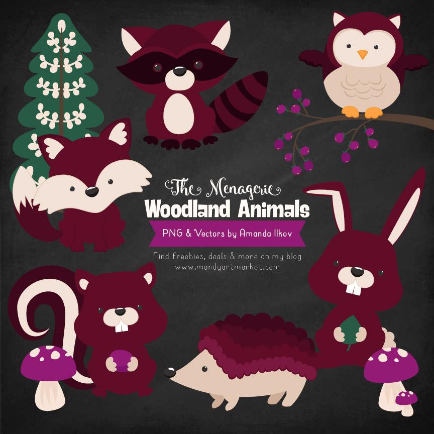 Merlot Woodland Animals Clipart