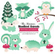 Mint Woodland Animals Clipart