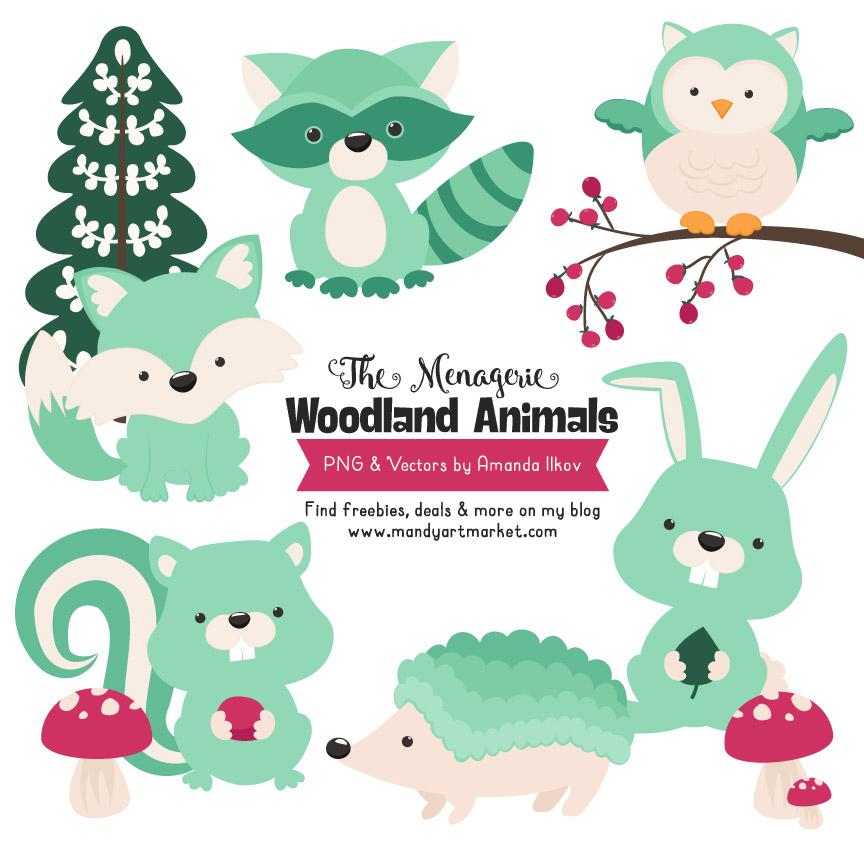 Mint Woodland Animals Clipart