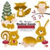Mustard Woodland Animals Clipart