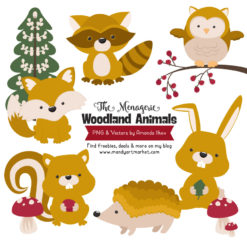 Mustard Woodland Animals Clipart