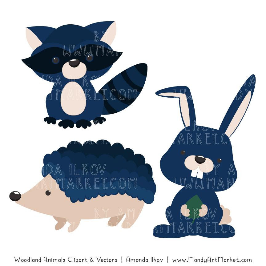 Navy Woodland Animals Clipart