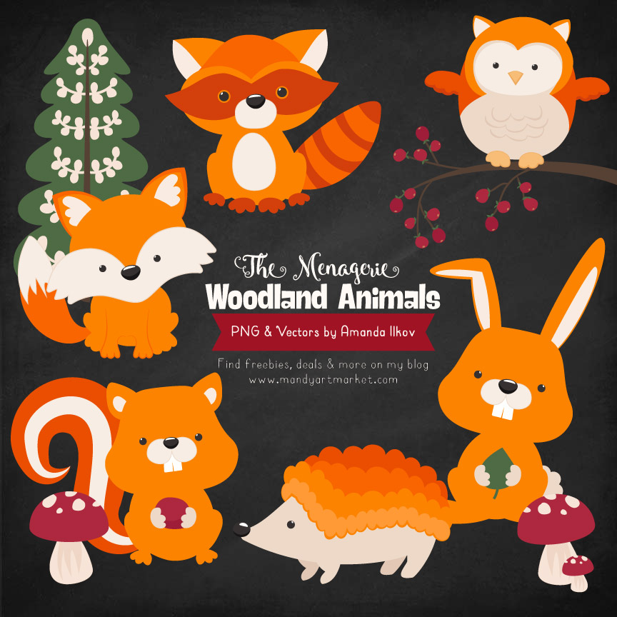 Orange Woodland Animals Clipart