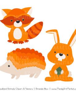 Orange Woodland Animals Clipart