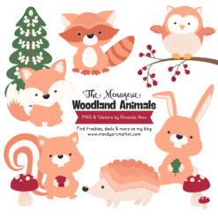 Peach Woodland Animals Clipart