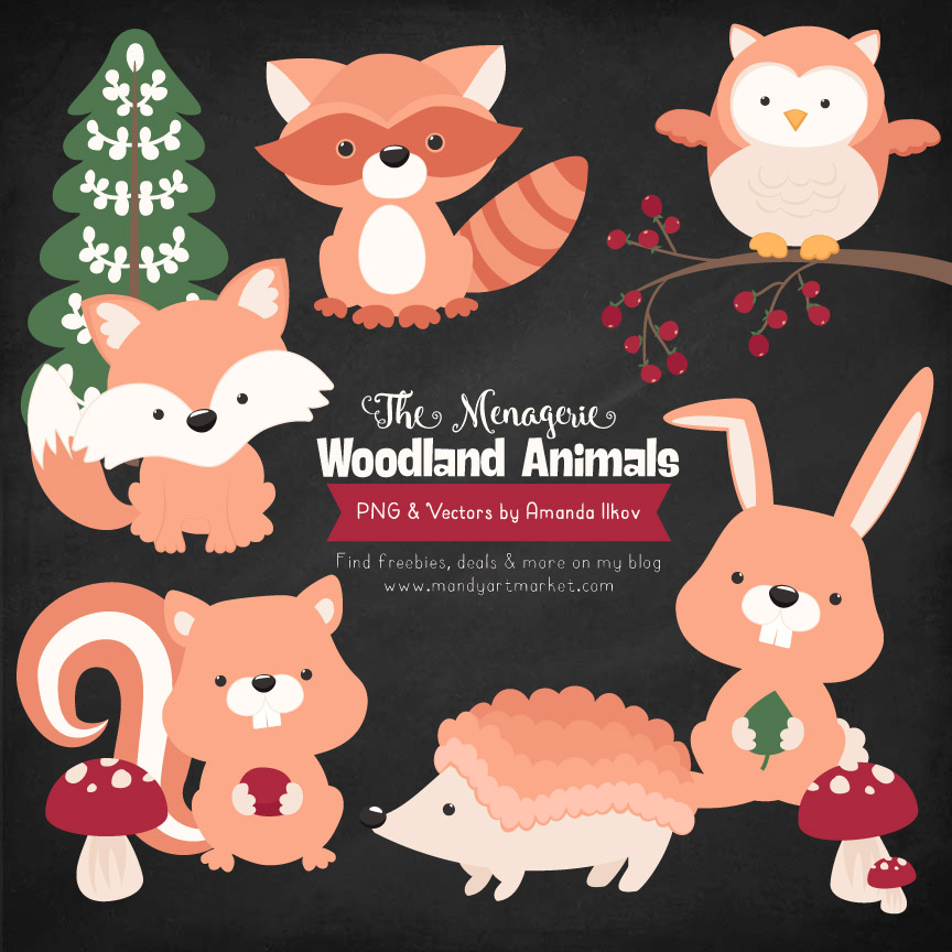 Peach Woodland Animals Clipart