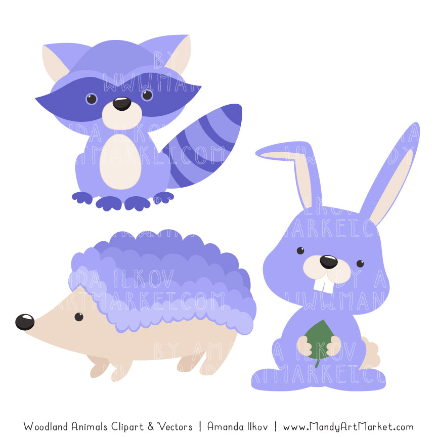 Periwinkle Woodland Animals Clipart