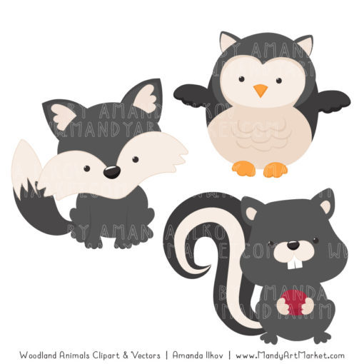Pewter Woodland Animals Clipart