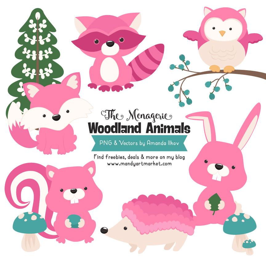 Pink Woodland Animals Clipart