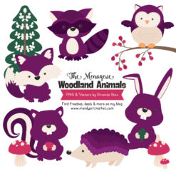 Plum Woodland Animals Clipart