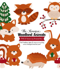 Pumpkin Woodland Animals Clipart