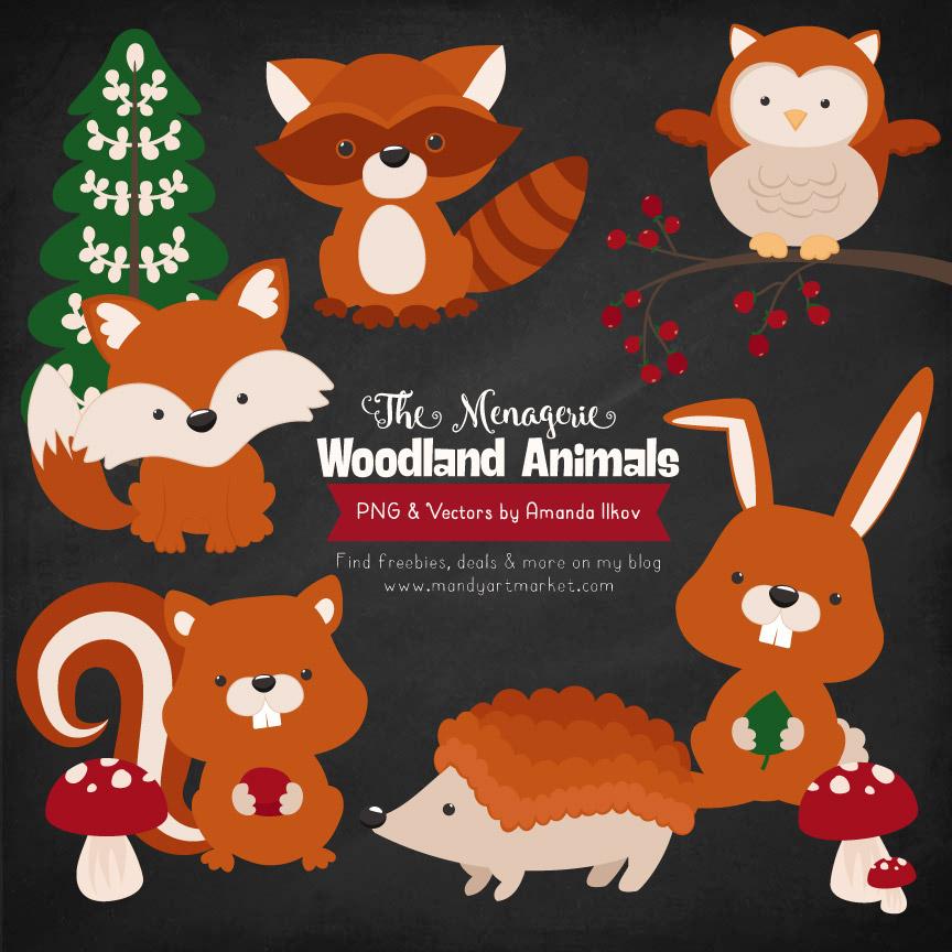 Pumpkin Woodland Animals Clipart