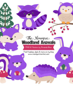 Purple Woodland Animals Clipart