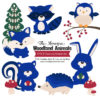 Royal Blue Woodland Animals Clipart