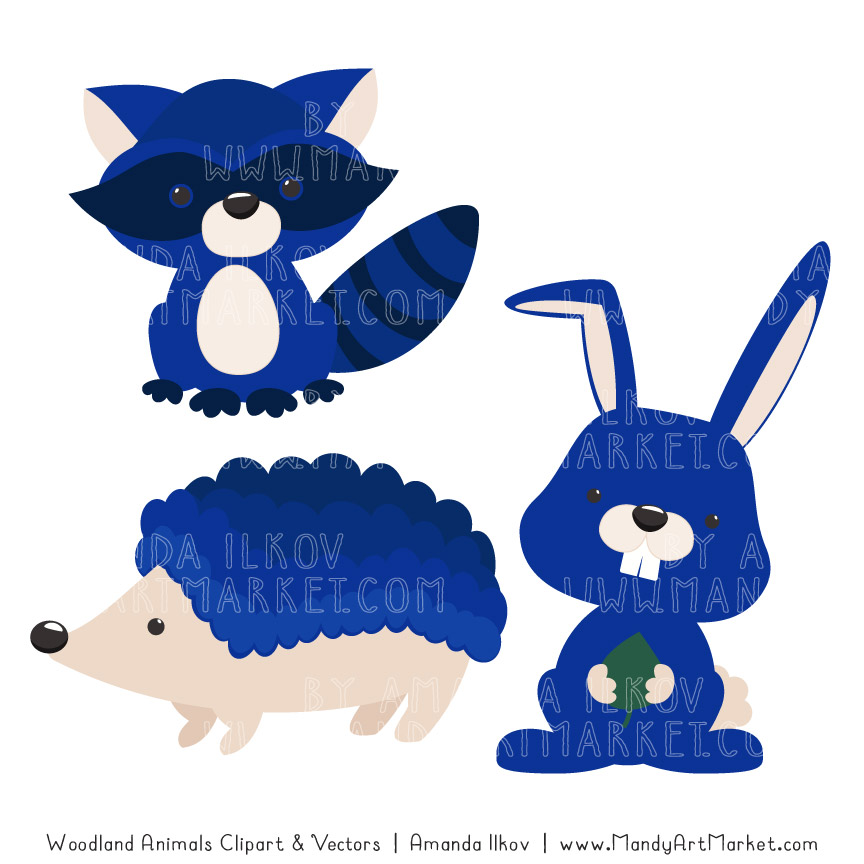 Royal Blue Woodland Animals Clipart