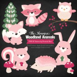 Soft Pink Woodland Animals Clipart