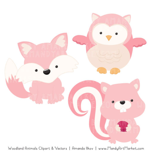 Soft Pink Woodland Animals Clipart