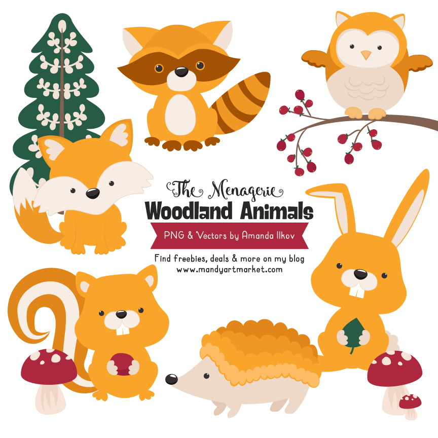Sunshine Woodland Animals Clipart