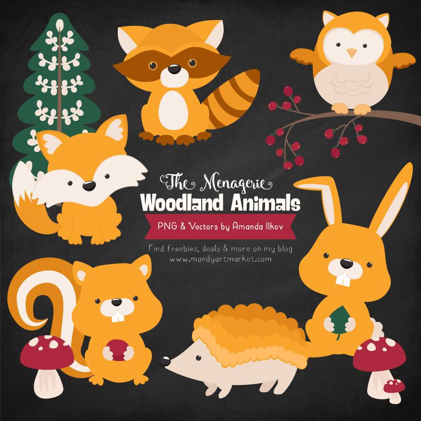 Sunshine Woodland Animals Clipart