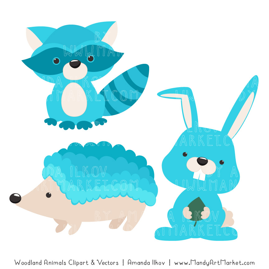 Tropical Blue Woodland Animals Clipart