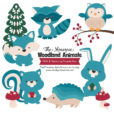 Vintage Blue Woodland Animals Clipart