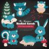 Vintage Blue Woodland Animals Clipart