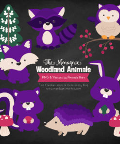 Violet Woodland Animals Clipart