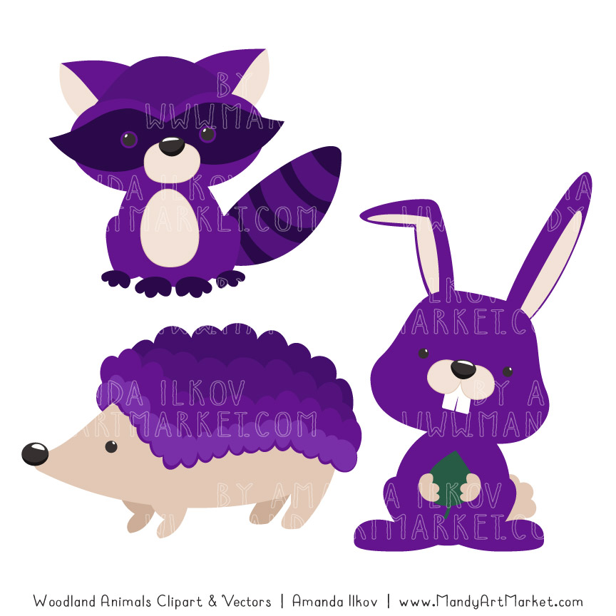 Violet Woodland Animals Clipart