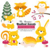 Yellow Woodland Animals Clipart