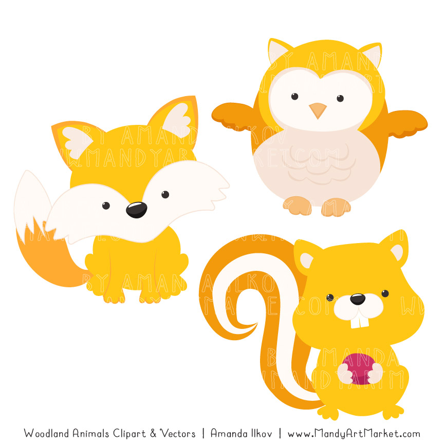 Yellow Woodland Animals Clipart