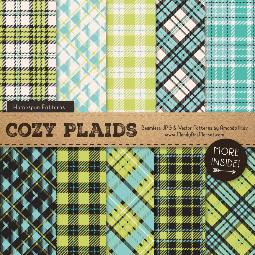 Aqua & Bamboo Cozy Plaid Patterns