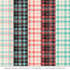 Aqua & Coral Cozy Plaid Patterns