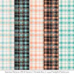 Aqua & Peach Cozy Plaid Patterns