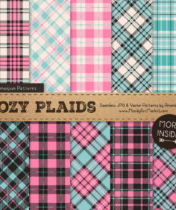 Aqua & Pink Cozy Plaid Patterns