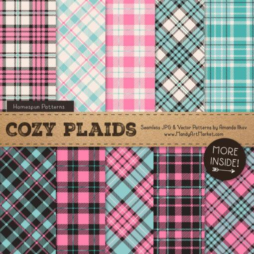 Aqua & Pink Cozy Plaid Patterns