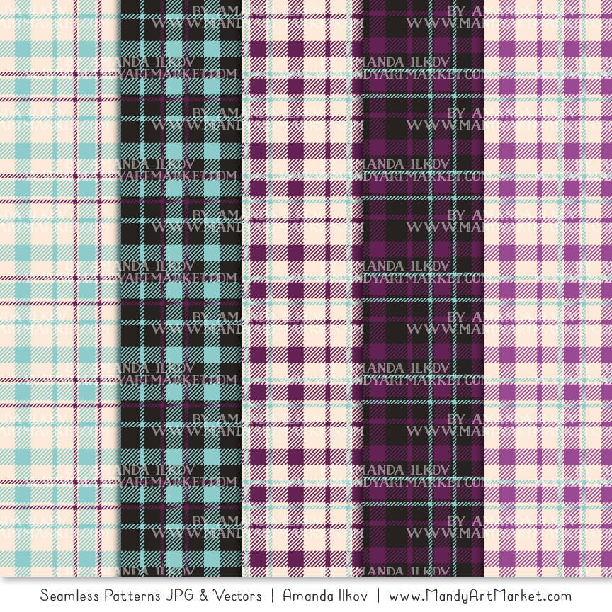 Aqua & Plum Cozy Plaid Patterns