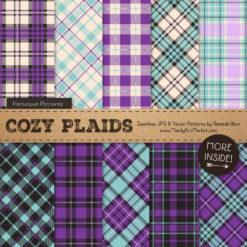 Aqua & Purple Cozy Plaid Patterns