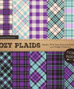 Aqua & Purple Cozy Plaid Patterns
