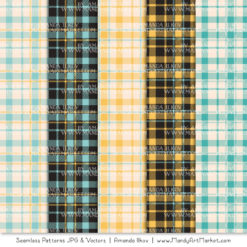 Aqua & Yellow Cozy Plaid Patterns