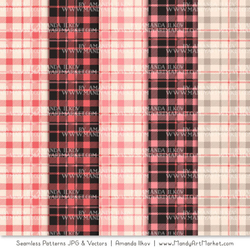 Coral Cozy Plaid Patterns