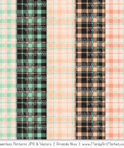 Mint & Peach Cozy Plaid Patterns