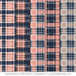 Navy & Blush Cozy Plaid Patterns